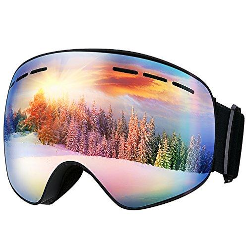 Mpow Erwachsene 400 UV-schutz  Doppel-Objektiv Anti-Fog Snowboard Skibrille, dunkelblau, 6.7 Zoll