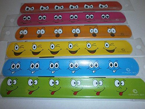 Jungen Smiley-gesicht (24x Klatscharmband Smiley Gesichter Schnapparmband Mitgebsel Kindergeburtstag)