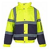 Jaqueta de trabajo MyShoeStore, de alta visibilidad, con capucha, talla S a 4XL Yellow Navy / 2 Tone XX-Large