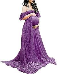 IWEMEK Vestido de Maternidad Mujer Fiesta Largos Boda Mujer Embarazada Encaje Floral Foto Shoot Vestidos Faldas