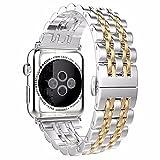 Apple correa de reloj banda reemplazo bandas pulsera de enlace de acero inoxidable banda reloj de pulsera lujo todavía Durable metal correa con cierre de mariposa somen Hombres para Apple Watch Series 1, series 2, Series 3
