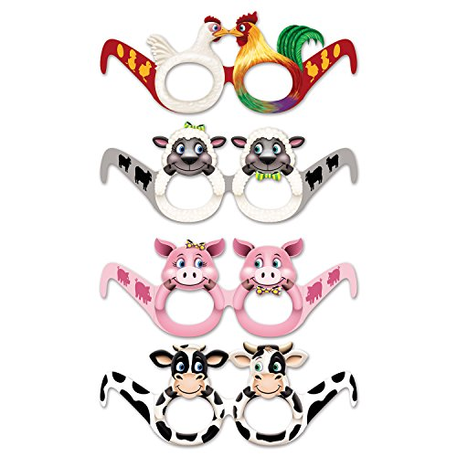 """'Paper Party Glasses """"Farm Animals Pack of 12"""
