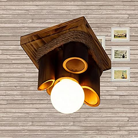Restoring Ancient Ways Household Wooden Chandeliers Simple Corridor Balcony Decoration Pendant Lamp New Solid Wood Bamboo Hemp Rope Chandelier E27 Lighting Lamps And