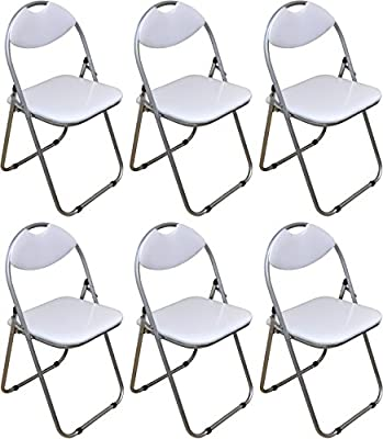 Harbour Housewares White Padded, Folding, Desk Chair - Pack of 6 - cheap UK light shop.