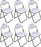 Harbour Housewares White Padded, Folding, Desk Chair – Pack of 6