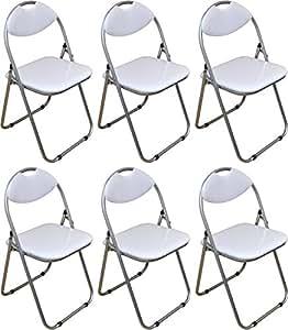Harbour Housewares White Padded, Folding, Desk Chair - Pack of 6
