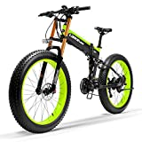 LANKELEISI Nueva T750Plus Bicicleta de eléctrica, Bicicleta de Nieve con Sensor de Asistencia a Pedales de 5 Niveles, batería de Ion de Litio de 48V 14.5Ah, Mejorada Horquilla (Verde, 500W Estándar)