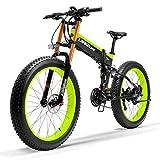 LANKELEISI T750Plus elektrisches Mountainbike, 5-Stufen-Pedal-Assist-Sensor, Snow Bike, leistungsstarker Motor, 48V 14.5Ah Li-Ion-Akku, Upgraded zu Downhill-Gabel (Schwarz Grün, 1000W Standard)