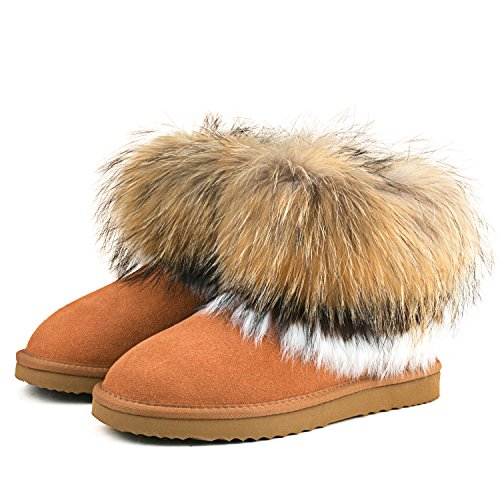 Shenduo Bottes d'hiver pour femme en cuir - Boots & Bottines fourrées courtes plates doublure chaude D9258 Marron