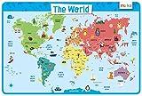 merka Weltkarte - Educational Kinder Tischsets - nicht Beleg waschbar (korrigierter Entwurf)