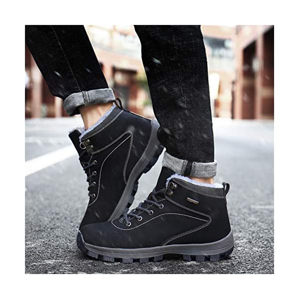 UBFEN Mens Womens Snow Boots Winter Warm Plush Booties Outdoor Sports Walking Hiking High Top Shoes 6