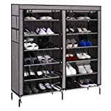 #7: House of Quirk 6-Tiers 2 Rows Doors Shoe Rack with Dustproof Cover Closet ,36-Pair Shoes Rack Storage Cabinet Organizer(Grey)
