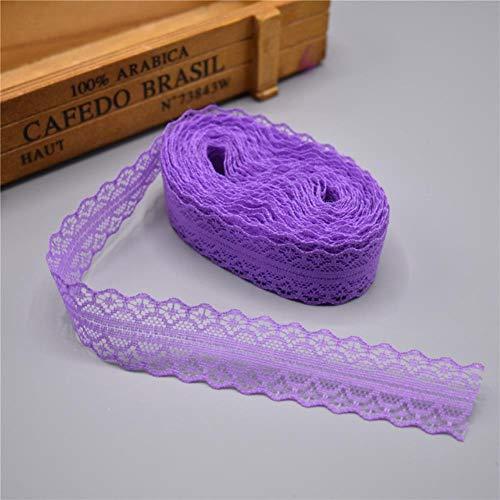 Hohe Qualität Weiß 10 Yards Spitze-Band-Band Breite 28mm Trim DIY gesticktes Net-Schnur für Nähen Dekoration afrikanischen Spitzegewebe, Lila -