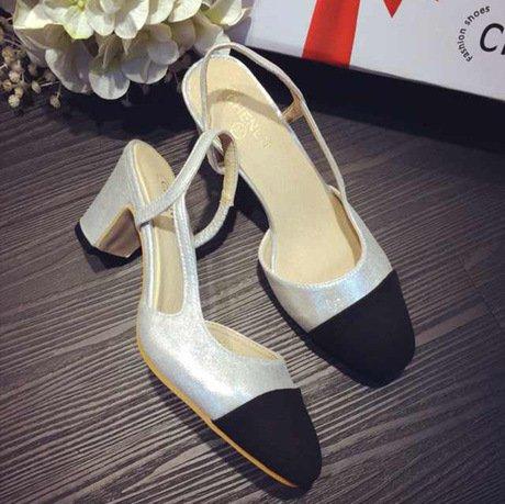 GS~LY Épeler couleur pochoir couleur chunky talons hauts talons chaussures apricot