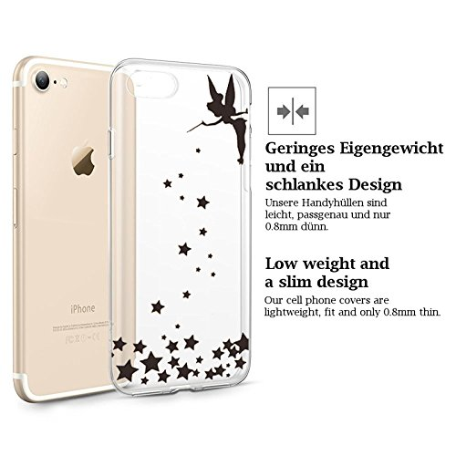 FINOO ® | Iphone 7 Plus Weiche flexible Silikon Handy-Hülle | Transparente TPU Cover Schale mit Motiv Muster | Tasche Case mit Ultra Slim Rundum-schutz | stoßfestes dünnes Bumper Etui | Bunter Baum Fee zaubert Sterne