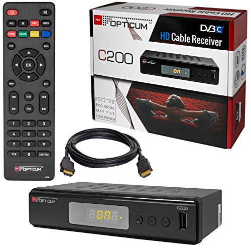 Kabel Receiver Kabelreceiver – DVB-C HB-DIGITAL Set: Opticum HD C200 Receiver für digitales Kabelfernsehen (HDMI, SCART, USB 2.0, Mediaplayer) + HDMI Kabel