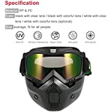 KKmoon Mortorcycle Maske abnehmbaren Schutzbrille und Mund Filter für Open Face Helm Motocross Ski Snowboard