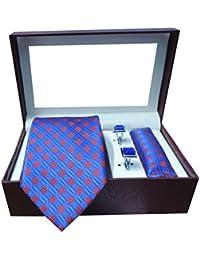 Riyasat - Self Design Blue Color Micro Fibre Men,s Tie, Cufflink and Pocket Square Gift Set .(S_065)