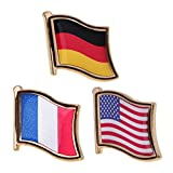 #6: Phenovo 3Pcs Country Metal Pin Flag Badge Lapel Brooches American for Clothing Decor