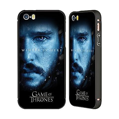 Officiel HBO Game Of Thrones Jon Snow Winter Is Here Noir Étui Coque Aluminium Bumper Slider pour Apple iPhone 5 / 5s /