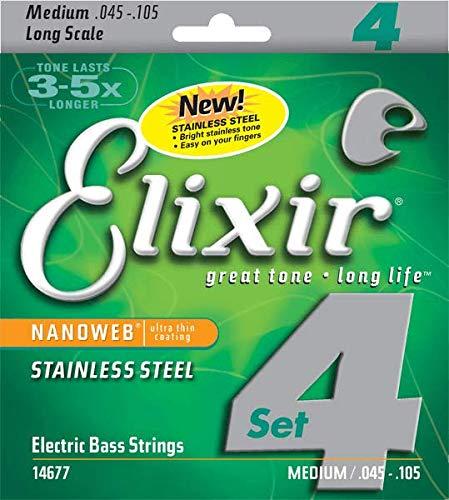 Elixir 14677 Electric Bass Saiten 4 Medium Stainless Steel Nanoweb Coating