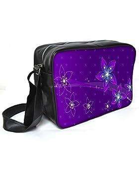 Snoogg violett Blumen Leder Unisex Messenger Bag für College Schule täglichen Gebrauch Tasche Material PU