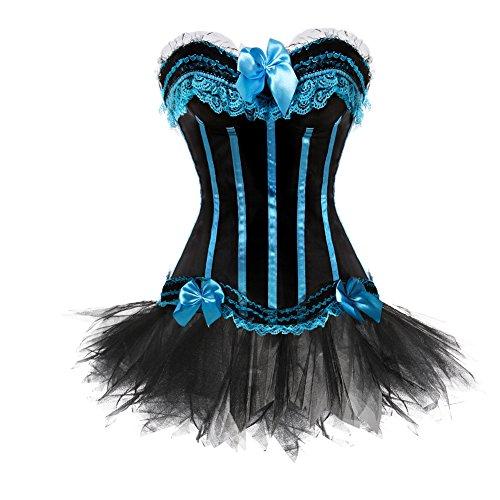Grebrafan Hochzeitskleid Frauen Korsett Streifen Corsage und Tutu-Rock aus Tüll (EUR(34-36) M, Sky Blau)