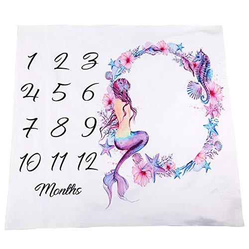 stone Decke, 40×40 Zoll Säugling Neugeborenen Meerjungfrau Meilenstein Decke im ersten Jahr, Polyesterfaser, Fotografie Hintergrund Foto ()