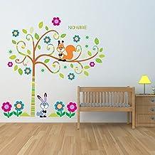 Vinilos decorativos infantiles arbol con animales y flores en tonos turquesa y fucsia. Personalizado con nombre. Tamaño 160X160 cm.