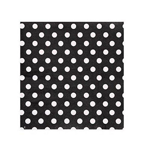 Servilleta de papel, de papel, diseño de lunares, color blanco y negro