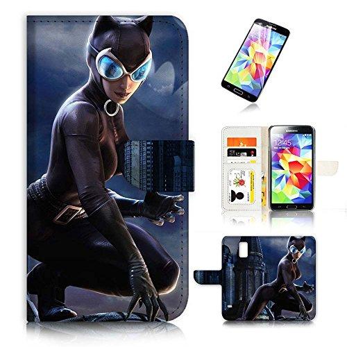 (für Samsung Galaxy S5) Flip Wallet Case Cover & Displayschutzfolie Bundle. a20397Katze Frau Super Hero
