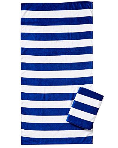 Bahia Collection by Dohler Strandtuch, Velours, horizontal, Cabana-Streifen, 76 x 152 cm, Blau - Cabana Streifen Strand Handtuch