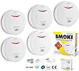 Smoki FIVE PACK- Photoelectric Smoke Detector 10 year lithium battery, Magnetic installation (no screws), EN14604, ROHS, NF292, VDS & CE certified (Multi Language Manual)