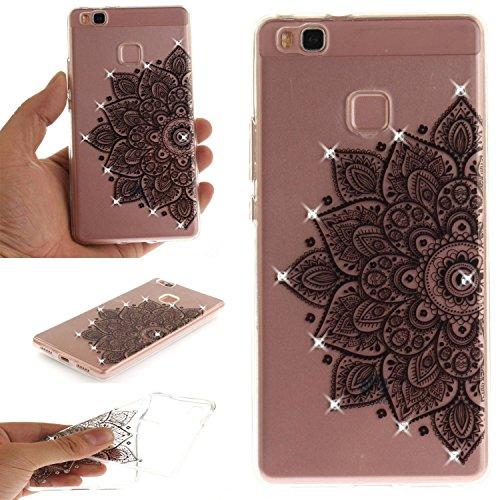 Owbb Hülle für Huawei P9 lite (5.2zoll) TPU Silikon Ultra Dünn SoftSchutzhülle mit Kratzfeste Function Glitzer Kristall Design Schwarze Blume Muster