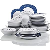 VEWEET 'Dot' Juegos de vajilla de Porcelana 24 Piezas 6 Cuencos de Cereales, 6 Platos de Postre, 6 Platos Llanos y 6 Platos de Sopa vajillas Completa para 6 Personas