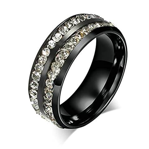 Aooaz Free Engraving 8mm Stainless Steel Ring Two Row Cubic Zirconia CZ Channel Set Eternity Ring Size V 1/2