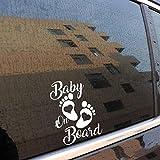Stukk Stickers Baby On Board Aufkleber für Autofenster, Vinyl, 12,7 cm x 17,8 cm - weiß