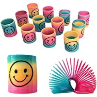 12 Mini Rainbow Smiley Face Springs Slinky Pinata Party Loot Bag Fillers Toy, Multi