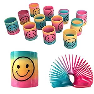 Shatchi 12 Mini Rainbow Smiley Face Springs Slinky Pinata Party Loot Bag Fillers Toy