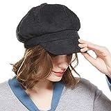 Ladies Newsboy Cabbie Beret Cap Bakerboy Schirmmütze Winter Hut for Women, Schwarz, Einheitsgröße