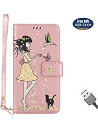 Funda Galaxy J7 2016,Funda Cover Galaxy J7 2016,Aireratze Slim Case de Estilo Billetera Carcasa Libro de Cuero,Carcasa PU Leather Con TPU Silicona [Material luminoso seguro] [Girl Cat Pattern] para Mujeres niña Case Interna Suave [Función de Soporte] [Ranuras para Tarjetas y Billetera] [Cierre Magnético] para Samsung Galaxy J7 2016 (Oro rosa) (+ Cable USB)