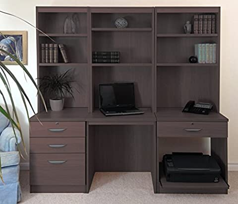 SET-14-IN-WN Walnut Computer Table Desk With Shelf Hutch Bookcase Home Office Furniture UK Modern Quality No Assembly Required Narrow Tall Cupboard Cabinet Doors Sets Studio