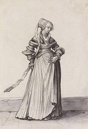 Das Museum Outlet-Basel Frau nach rechts gedreht. Kostüm study. c.1523, gespannte Leinwand Galerie verpackt. 40,6x 50,8cm (Frau Recht Kostüm)