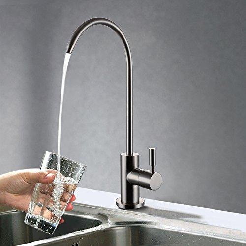 Wasserhahn Trinkwasser Edelstahl (KES Bleifreier Trinkwasserhahn f¨¹r Trinkwasser-Filtersystem 1/4-Zoll-Schlauch, Edelstahl Geb¨¹rstet, Z501A)