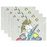 SENNSEE Niedliche Einhorn Spielen die Gitarre Tisch-Sets Home Teller Fußmatte Esstisch hitzebeständig Küche Tisch Matte 30,5x 45,7cm, grau, Polyester, Mehrfarbig, 4 Stück
