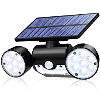 ‏‪Holahoney Solar Lights Outdoor, 30 LED Solar Security Lights with Motion Sensor Dual Head Spotlights IP65 Waterproof 360° Adjustable Outdoor for Front Door Yard Garden Garage Patio Deck - 1 Pack‬‏