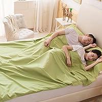 Saco de Dormir Liner Bolsa de Viaje Camping Funda Sencilla y Fina de Cama Doble de Algodón Suave y Cómoda