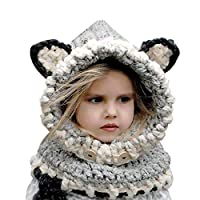 E-More Kids Winter Hat, Baby Girls Boys Knit Hats Scarf Warm Fox Animal Caps Hood Scarves Earflap Snow Neck Warmer Cap with Ears for Autumn Winter (6-10 Years Old) Grey