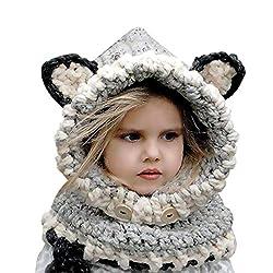 Warme Baby Mütze Schal Set E-More Winter Wolle Gestrickte Hüte Schals Kapuze Mönchskutte Beanie Mützen für Kinder Junge Baby Mädchen Schalmütze Mütze Wolleschal warme Earflap Fox Cap (6-10 Jahre alt)