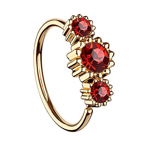 Piersando Universal Piercing Ring für Septum Tragus Helix Ohr Nase Lippe Brust Intim mit 3 Strass Kristallen Rosegold Vergoldet Rot (Rote Diamant-ring Weiss-gold)